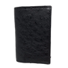 Modern Gusseted Black Ostrich Wallet