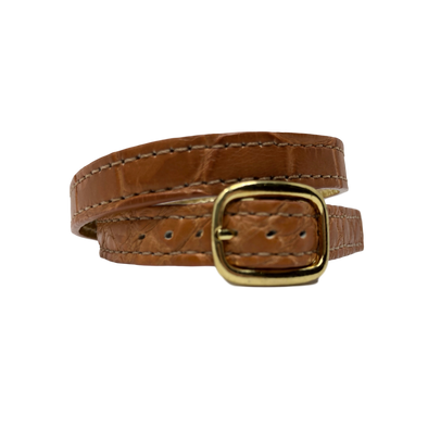 Luxury Cognac Alligator Skin Bracelet with Brass Hardware