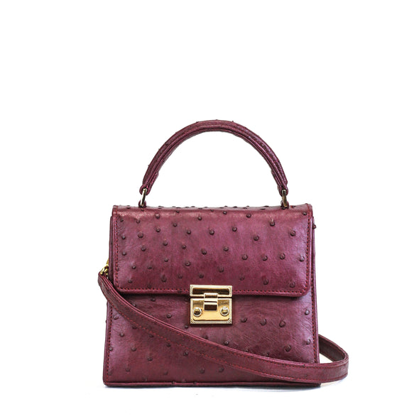 Small Ostrich Top-handle Satchel