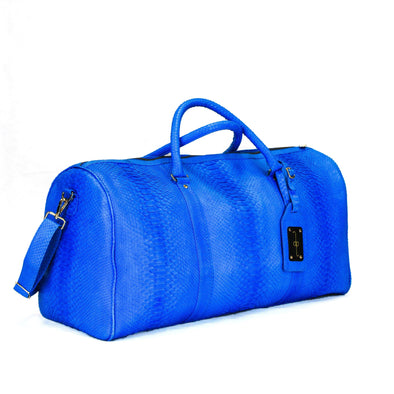 Duffel Bag in Electric Blue Python