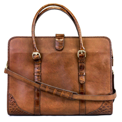 Briefcase - Leather trimmed in Crocodile