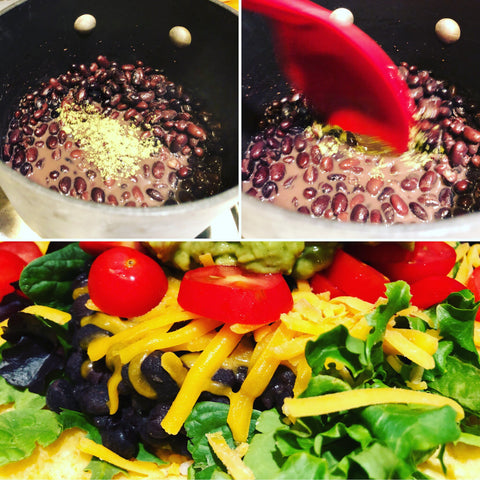 Black beans, EasyKale and taco salad