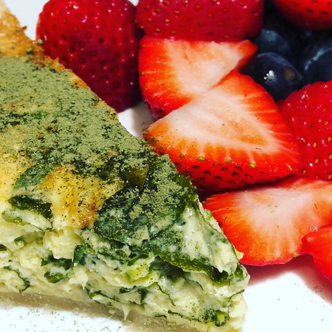 EasyKale on quiche and fruit