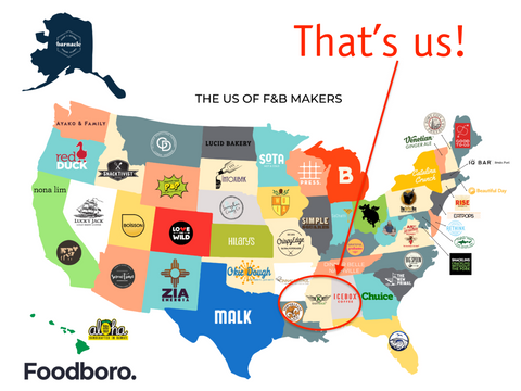 Foodboro map of the United States of food companies - EasyKale