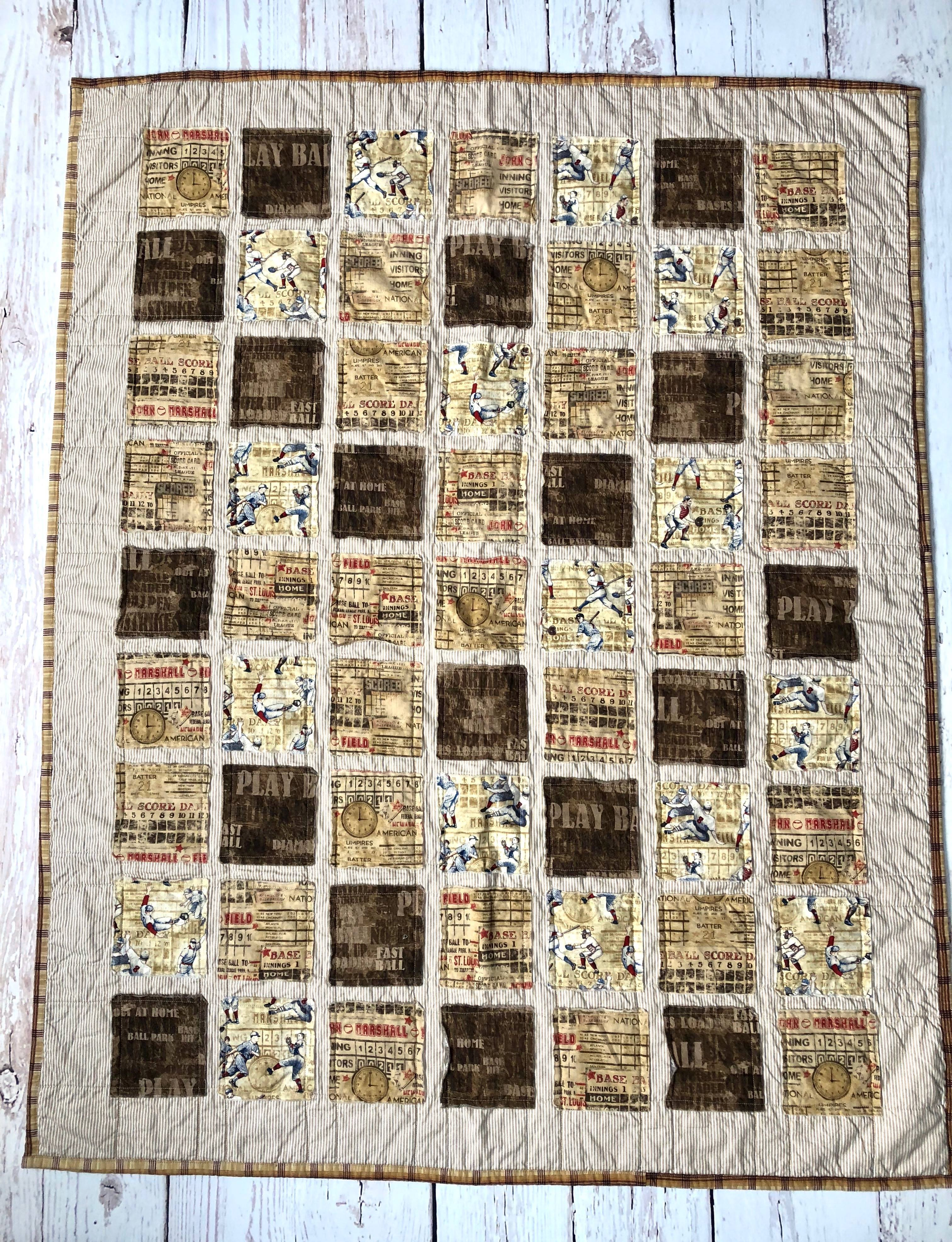 Vintage Baseball Quilt in Tan