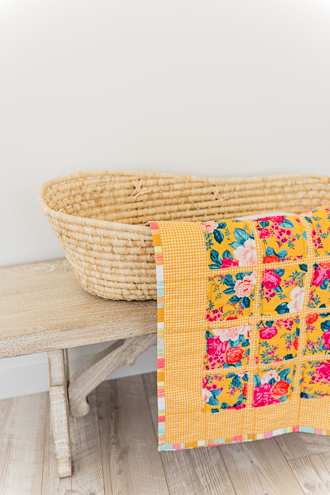 Sunshine and Roses in Honey Plaid Quilt