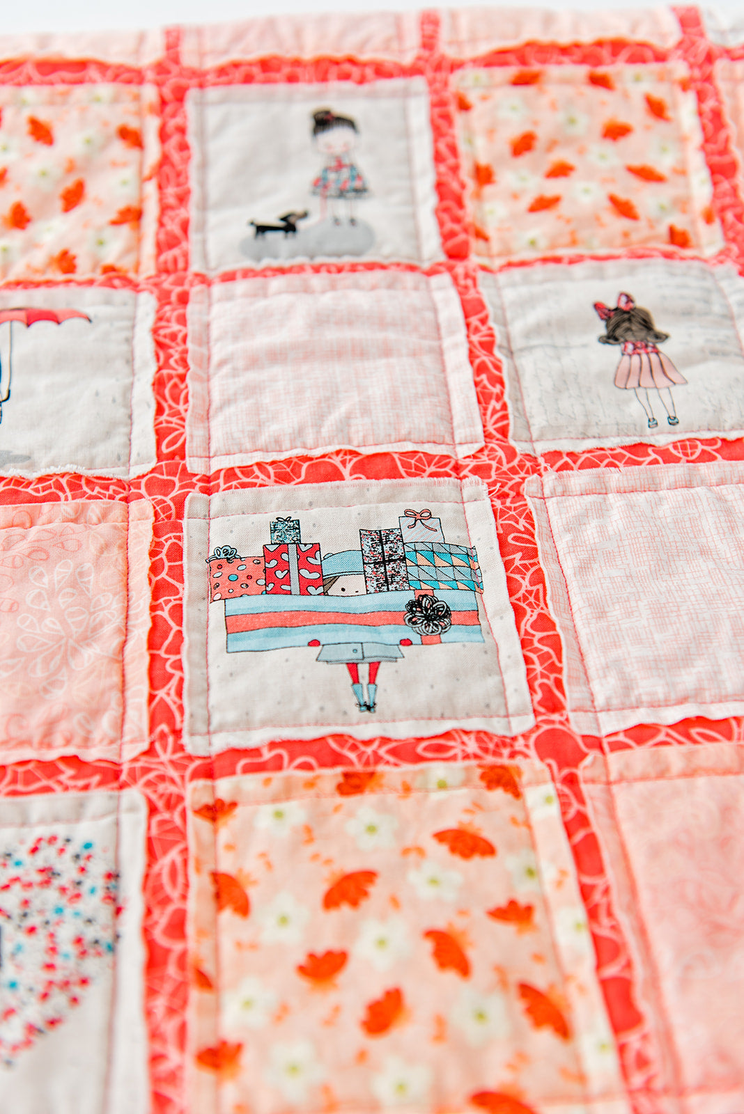 beautiful-handmade-baby-quilt-coral-mint-hot-pink-blanket-from-sugar-owl-design