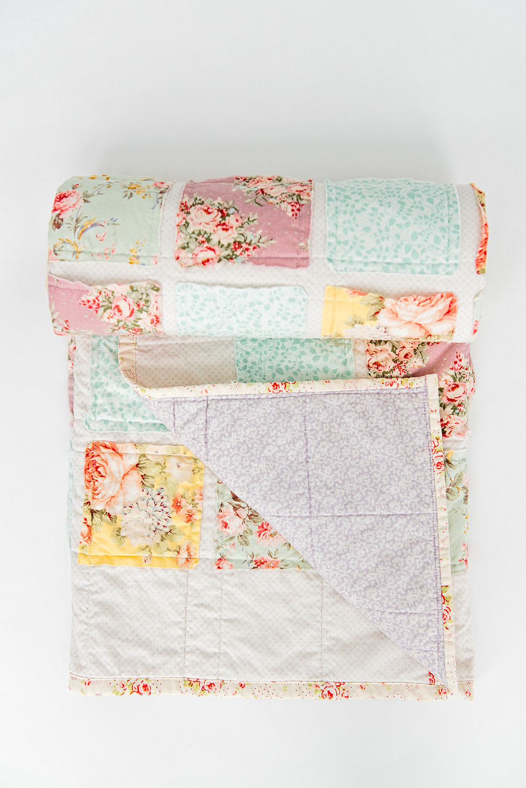 mint-pink-lavender-girly-floral-quilt-handmade-baby-blanket