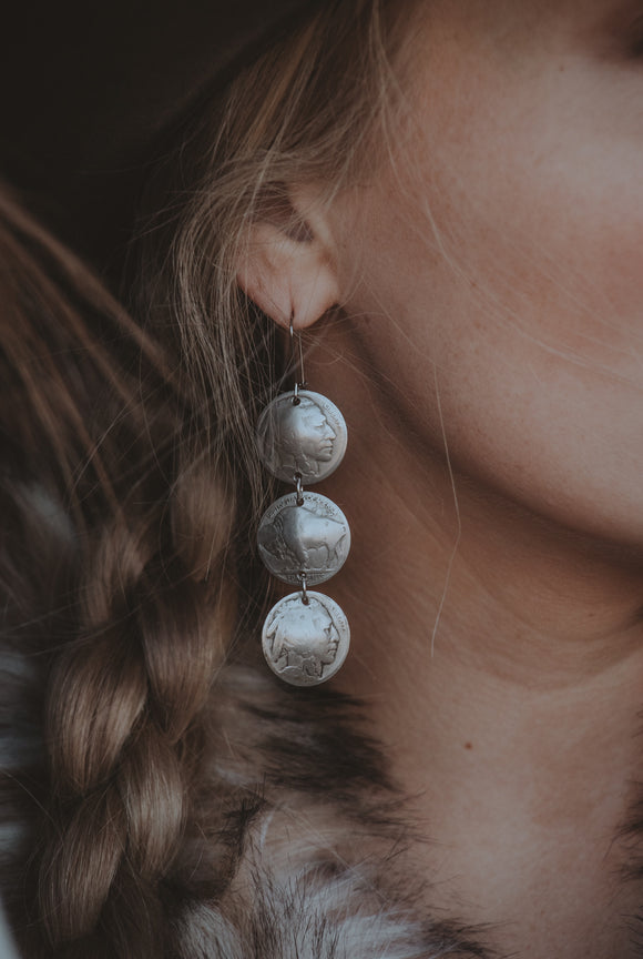 Three Indian Head Coin Earrings