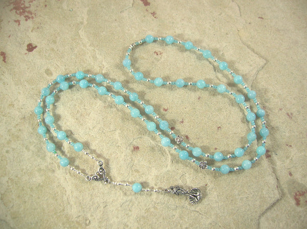 CUSTOM ORDER, RESERVED FOR S: Aphrodite Prayer Bead Necklace in Aquamarine