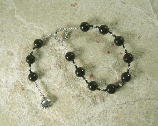 RESERVED LISTING: Hella Pocket Prayer Beads in Black Onyx, Norse Goddess of the Dead - Hearthfire Handworks