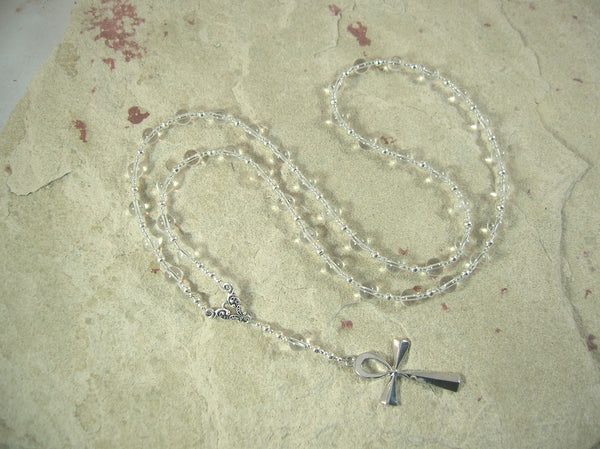 CUSTOM ORDER, RESERVED FOR S: Ankh Prayer Bead Necklace in Clear Quartz