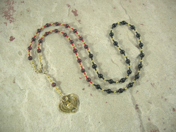 CUSTOM ORDER, RESERVED FOR S:  Khepera Prayer Bead Necklace in Garnet and Onyx, Egyptian God of Transformation, Rebirth, the Sun