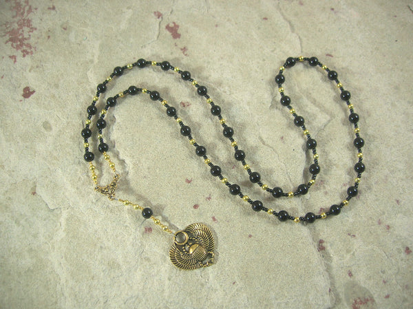 CUSTOM ORDER, RESERVED FOR S:  Khepera Prayer Bead Necklace in Onyx, Egyptian God of Transformation, Rebirth, the Sun