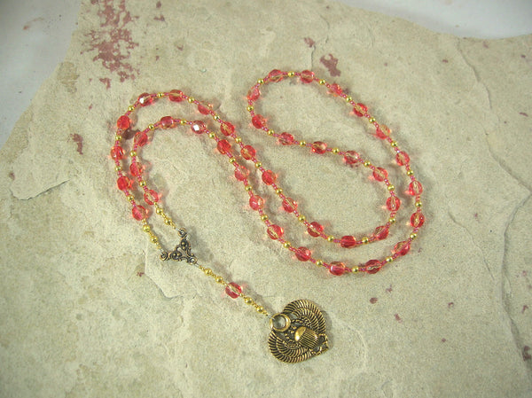CUSTOM ORDER, RESERVED FOR S: Khepera Prayer Bead Necklace in Red Czech Fire-polished Glass