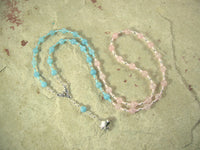 CUSTOM ORDER, RESERVED FOR S: Nephthys Necklace in Aquamarine and Rose Quartz