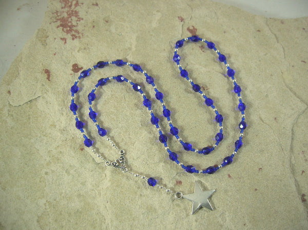 CUSTOM ORDER, RESERVED FOR S: Nuit/Nut Prayer Bead Necklace in Dark Blue Czech Fire-polished Glass