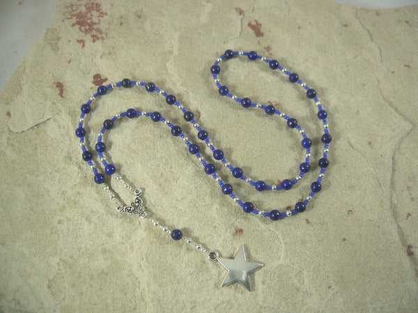 CUSTOM ORDER, RESERVED FOR S: Nuit/Nut Prayer Bead Necklace in Lapis Lazuli