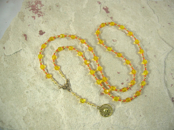 CUSTOM ORDER, RESERVED FOR S: Ra Prayer Bead Necklace in Yellow Czech Fire-polished Glass