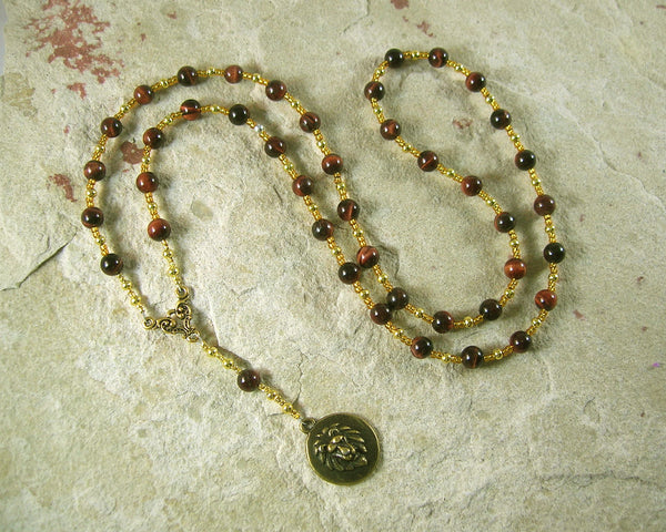 RESERVED: Sekhmet Prayer Bead Necklace in Red Tiger eye