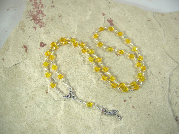 CUSTOM ORDER, RESERVED FOR S: Thoth Prayer Bead Necklace in Yellow Czech Fire-polished Glass