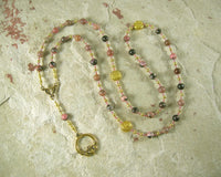 Aengus (Oengus, Angus Og) Prayer Bead Necklace in Rhodonite: Irish Celtic God of Youth and Love - Hearthfire Handworks