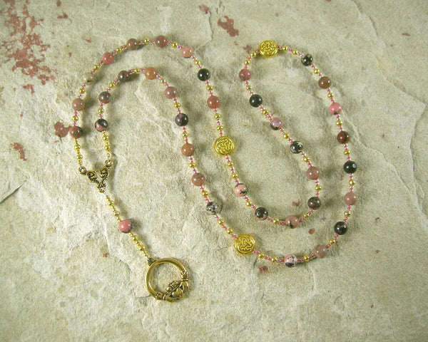 Aengus (Oengus, Angus Og) Prayer Bead Necklace in Rhodonite: Irish Celtic God of Youth and Love