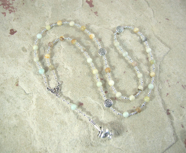 Airmed (Airmid) Prayer Bead Necklace in Flower Amazonite: Irish Celtic Goddess of Herbs and Healing