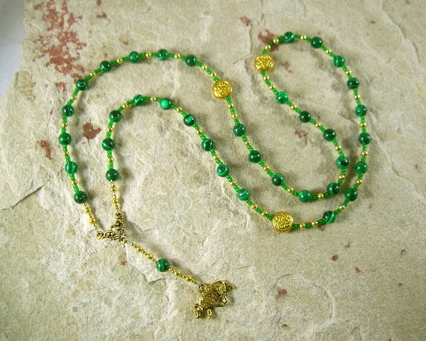 Artio Prayer Bead Necklace in Reconstituted Malachite: Gaulish Celtic Goddess of the Bear - Hearthfire Handworks