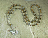 Artio Prayer Bead Necklace in Tiger Eye: Gaulish Celtic Goddess of the Bear - Hearthfire Handworks