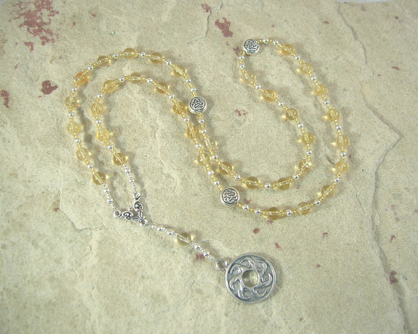 Belenos (Belenus) Prayer Bead Necklace in Citrine: Gaulish Celtic God of the Sun