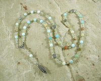 Blodeuwedd Prayer Bead Necklace in Flower Amazonite: Welsh Celtic Goddess of Spring, Maid of Flowers - Hearthfire Handworks