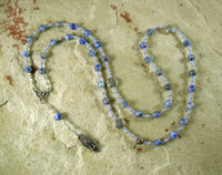 Blodeuwedd Prayer Bead Necklace in Blue Spot Agate: Welsh Celtic Goddess of Spring, Maid of Flowers - Hearthfire Handworks