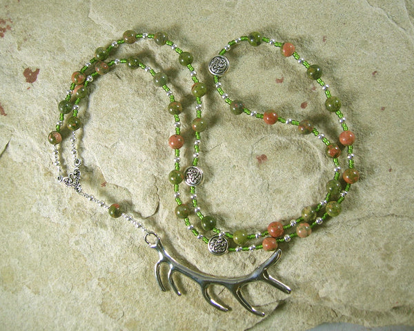 Cernunnos (Kernunnos) Prayer Bead Necklace in Unakite: Gaulish Celtic God of Nature and Beasts - Hearthfire Handworks