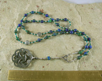 Cernunnos Prayer Bead Necklace in Lapis/Chrysocolla: Gaulish Celtic God of Nature and Beasts - Hearthfire Handworks