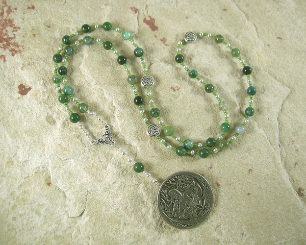 Cernunnos Prayer Bead Necklace in Moss Agate: Gaulish Celtic God of Nature and Beasts - Hearthfire Handworks