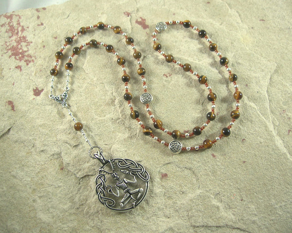 Cernunnos Prayer Bead Necklace in Tiger Eye:  Gaulish Celtic God of Nature and Beasts - Hearthfire Handworks