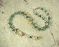 Dagda Prayer Bead Necklace in Moss Agate: Irish Celtic God of Protection and Abundance
