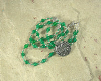 Danu Prayer Bead Necklace in Green Agate: Irish Celtic Mother Goddess