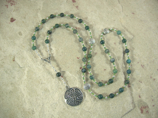 Danu Prayer Bead Necklace in Moss Agate: Irish Celtic Mother Goddess