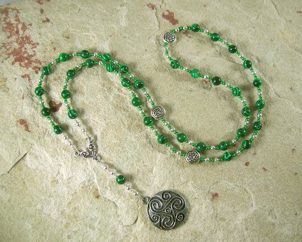 Danu Prayer Bead Necklace in Reconstituted Malachite: Irish Celtic Mother Goddess