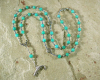 Fionn Prayer Bead Necklace in Amazonite: Irish Celtic Warrior God - Hearthfire Handworks