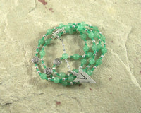 Lugh Prayer Bead Necklace in Aventurine: Irish Celtic God of All Arts and Skills - Hearthfire Handworks