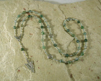 Lugh Prayer Bead Necklace in Green Agate: Irish Celtic God of All Arts and Skills - Hearthfire Handworks