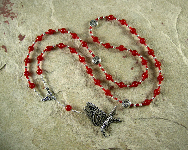 Morrigan Prayer Bead Necklace in Carnelian: Irish Celtic Goddess of Battle, Sovereignty
