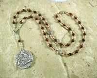 Morrigan Prayer Bead Necklace in Red Tiger Eye: Irish Celtic Goddess - Hearthfire Handworks