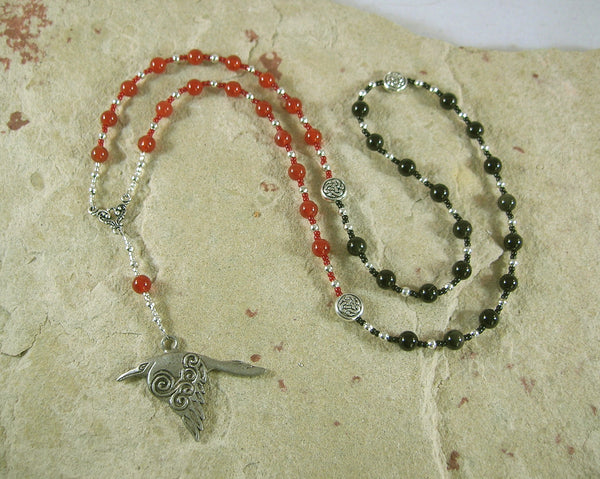 Morrigan Prayer Bead Necklace in Carnelian and Black Onyx: Irish Celtic Goddess - Hearthfire Handworks