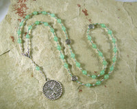 Nemetona Prayer Bead Necklace in Green Aventurine: Gaulish Celtic Goddess of the Sacred Grove - Hearthfire Handworks