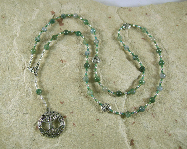 Nemetona Prayer Bead Necklace in Green Agate: Gaulish Celtic Goddess of the Sacred Grove - Hearthfire Handworks