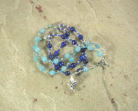 Rhiannon Prayer Bead Necklace in Aquamarine and Lapis: Welsh Celtic Goddess of Magic, Abundance and Sovereignty